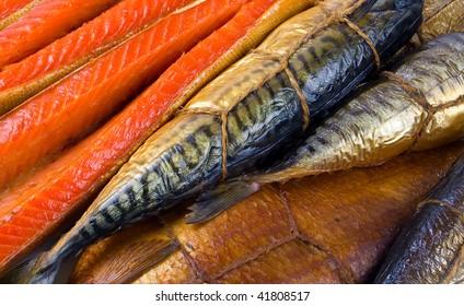 Set of smoked fish. Fish background.