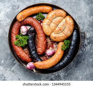 Set of smoked meats and sausages home-style sausages