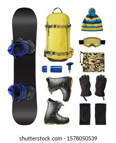 Set of snowboard accessories and equipment. Backpack, boots, ski goggles, etc. isolated on white background