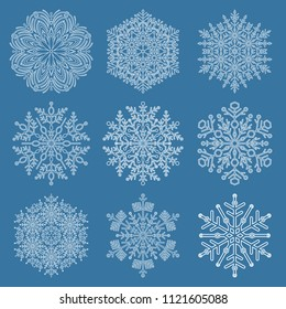Set of snowflakes. White winter ornaments. Snowflakes collection. Snowflakes for backgrounds and designs