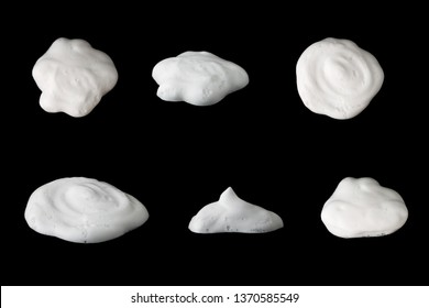 Set of soap bubbles foam isolated on black background.With clipping path.