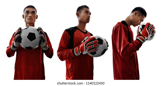Set of soccer goalkeeper isolated on white background