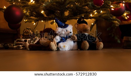 Set Soft Toys Under Christmas Tree Stock Photo Edit Now 572912830