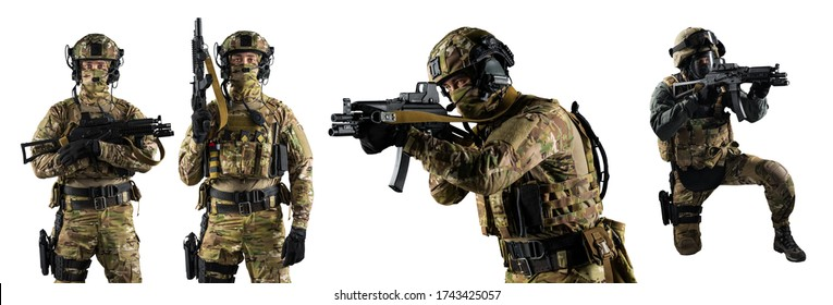 Set of Soldier holding weapon. Uniform conforms to special services of the Russian Federation. Shot in studio. Isolated with clipping path on white background