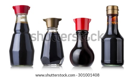 Set of soy sauce bottles isolated on white background