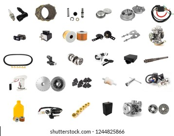 Set spare part of motorcycle with many items for shop isolated on white background.