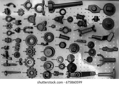 set of spare parts for agricultural machines black and white