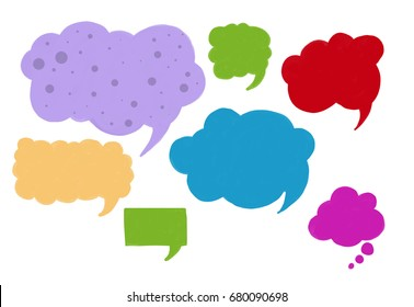 set of speech boxes or blank word cloud shapes, fun communication shapes designs, chat symbol icons, cartoon or comic style bright colors and pattern, conversation or talking concept