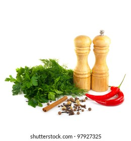 set of spice on  a white background