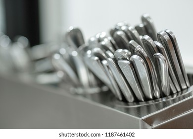 Set of spoons close up