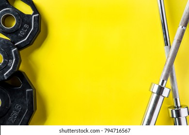 Set of Sport Fitness with Gym equipment on Yellow colorful background