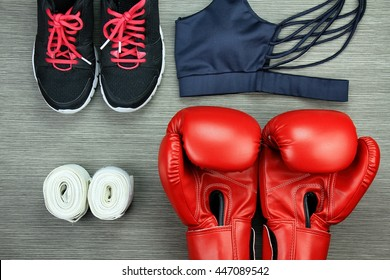 Set of sport wear for boxing exercise training, Gym fashion and accessories, Healthy lifestyle concept.