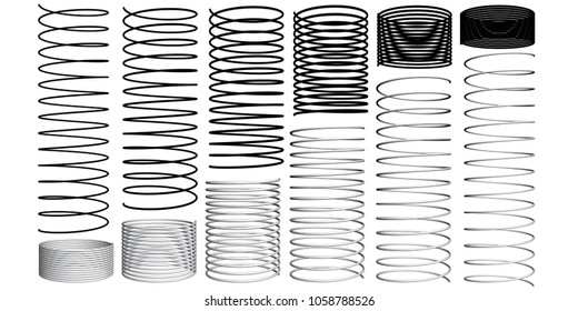 Set with springs 3D. Silhouettes of springs. Animation sequence of compression and expansion of springs.