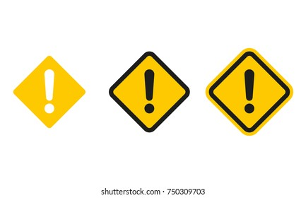 Set of square caution icons. Caution sign