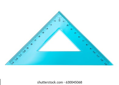Set square triangle isolated on white background. Top view