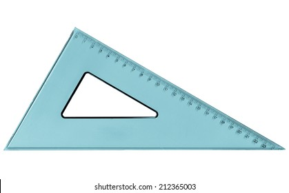 Set square triangle used in engineering and technical drawing - cool cyanotype