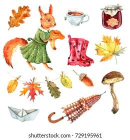 Set with squirrel,rubber boots, tea mug, jam jar,mushroom,autumn leaves, umbrella,paper boat. Cozy autumn set for your design