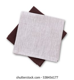 Set stack of colorful dish towels with shadow isolated on white. Multi-colored linen napkins for restaurant. Flat mock up for design. Top view close up