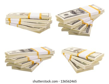 Set of a stack of dollars isolated on a white background