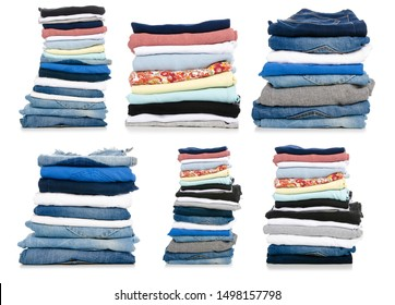 Set stack folded clothes on white background isolation