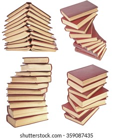 set stack of old books with yellowed pages isolated on white background