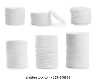 Set of stacked cotton pads on white background