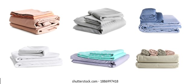 Set with stacks of clean bed linen on white background. Banner design