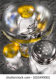 Set of stainless and glass utensils. Grain added for the art effect.
