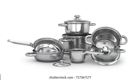Set of stainless pots and pan with glass lids. 3d illustration