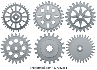 Set of steel   cogwheels on a white background.