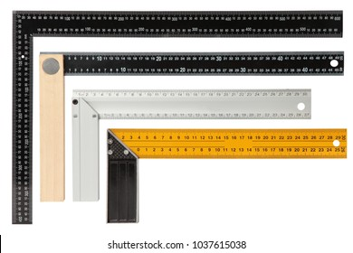 Set of steel framing setsquares isolated on white background.
