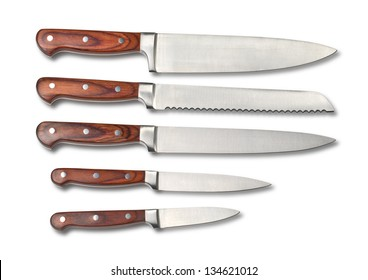 Set of steel kitchen knives, isolated on white with clipping path