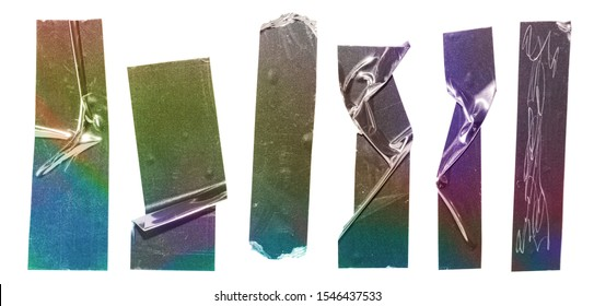 set of sticky shiny holographic tape strips or called stripees on white background with colourful glitter rainbow texture, teared stickers isolated