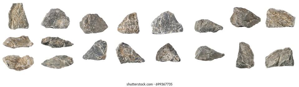 Set Stone Isolated on White Background