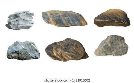 Set of stones and gravel isolated on white background. Stone used in construction, gardening landscaping. Minerals have been used in industrial sector