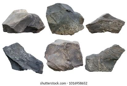 Set of stones isolated on white background.ten of stones isolated on white background.collection of stones isolated on white background.