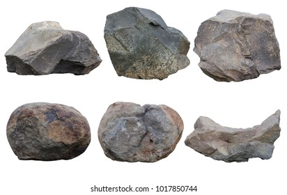 Set of stones isolated on white background.ten of stones isolated on white background.collection of stones isolated on white background.