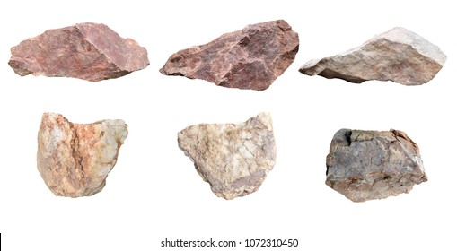 Set of stones isolated on white background.Total big granite rock stone,group stone isolated on white background.rock stone isolated on white background.