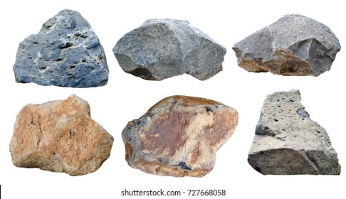 Set of stones isolated on white background