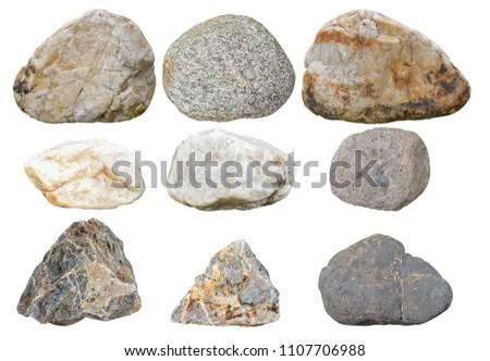Set Stones Isolated On White Background Total Stock Photo