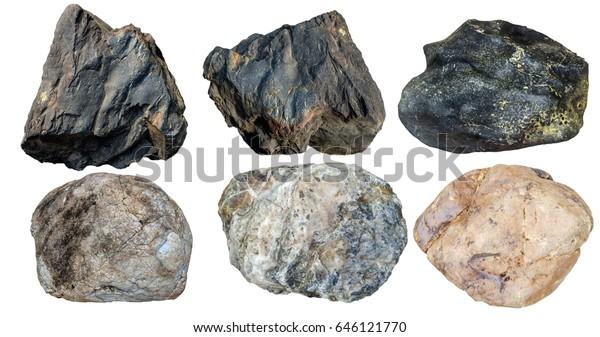 Set Stones Isolated On White Backgroundtotal Stock Photo