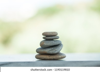 Set of Stones outdoors with sunlight on white background.