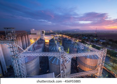 Set of storage tanks raw material agricultural crops  feed mills
