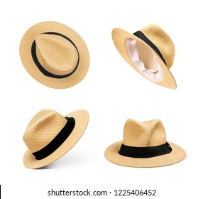Set of straw hats on an isolated white background
