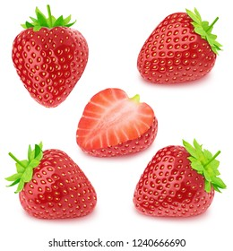 Set of strawberries isolated on a white.