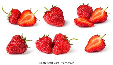 set of Strawberries. Isolated on a white background. Collection