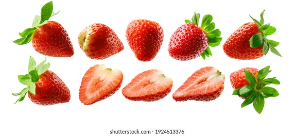 A set of strawberry. Isolated on a white background
