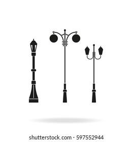 Set street lamppost icon.