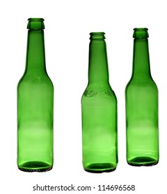 Set of studio photos of green beer bottles over white background/collection of green bottles