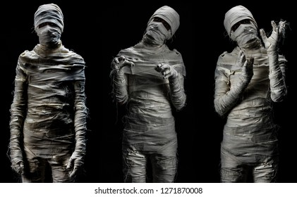 Set of studio shot portrait of young man in costume dressed as cosplay of scary mummy pose in several manners on black background.
